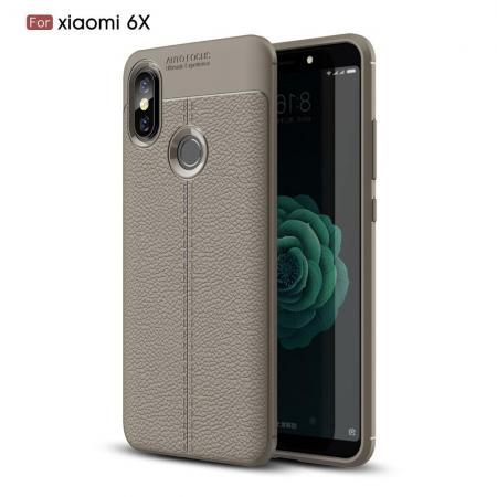 Litchi Grain Leather Силиконовый Накладка Чехол для Xiaomi Mi A2 / Mi 6X с Текстурой Кожа Серый
