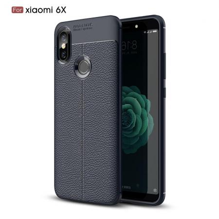 Litchi Grain Leather Силиконовый Накладка Чехол для Xiaomi Mi A2 / Mi 6X с Текстурой Кожа Синий