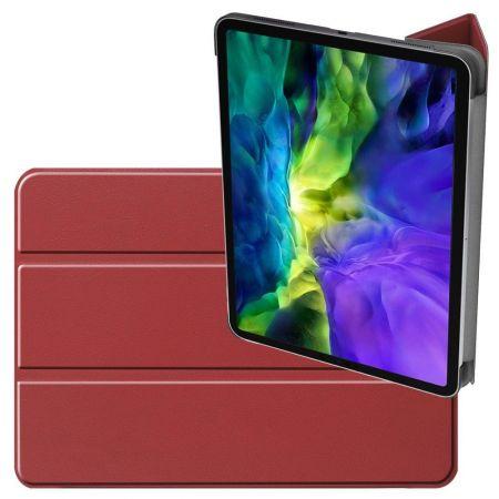 Двухсторонний Чехол Книжка для планшета iPad Pro 11 2020 Искусственно Кожаный с Подставкой Красный