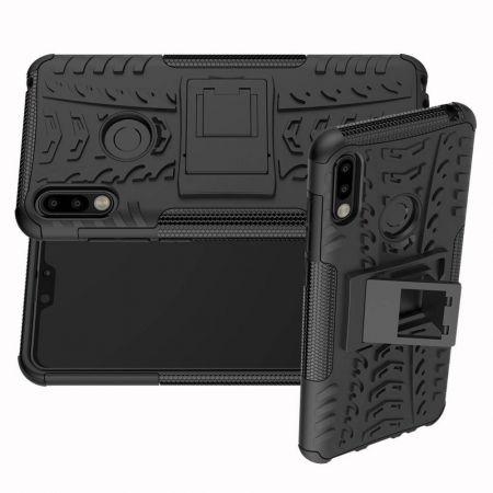 Двухкомпонентный Противоскользящий Гибридный Противоударный Чехол для Asus Zenfone Max Pro M2 ZB631KL с Подставкой Черный