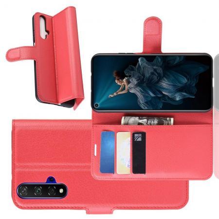 Флип чехол книжка с кошельком подставкой отделениями для карт и магнитной застежкой для Huawei Honor 20 Красный