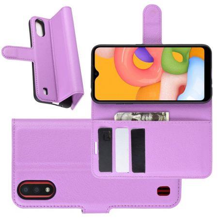 Боковая Чехол Книжка Кошелек с Футляром для Карт и Застежкой Магнитом для Samsung Galaxy A01 Фиолетовый