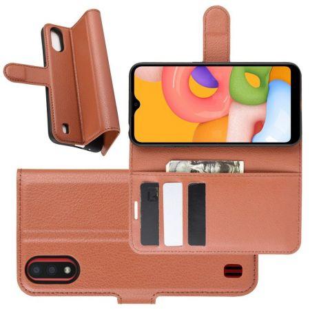 Боковая Чехол Книжка Кошелек с Футляром для Карт и Застежкой Магнитом для Samsung Galaxy A01 Коричневый