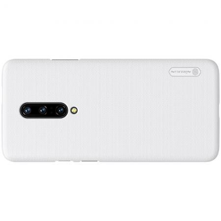Пластиковый нескользящий NILLKIN Frosted кейс чехол для OnePlus 7 Белый цвет + подставка