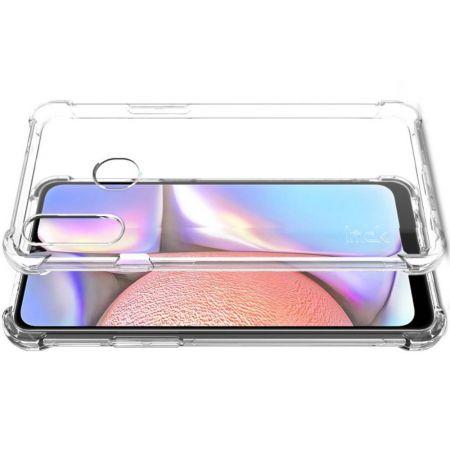 Ударопрочный бронированный IMAK чехол для Samsung Galaxy A20s с усиленными углами прозрачный + защитная пленка на экран