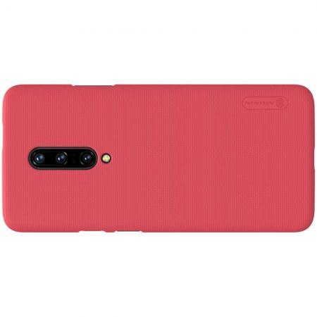 Пластиковый нескользящий NILLKIN Frosted кейс чехол для OnePlus 7 Красный цвет + подставка