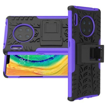 Двухкомпонентный Противоскользящий Гибридный Противоударный Чехол для Huawei Mate 30 Pro с Подставкой Черный