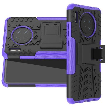 Двухкомпонентный Противоскользящий Гибридный Противоударный Чехол для Huawei Mate 30 с Подставкой Черный