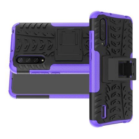 Двухкомпонентный Противоскользящий Гибридный Противоударный Чехол для Xiaomi Mi 9 Lite с Подставкой Черный