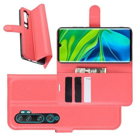 Боковая Чехол Книжка Кошелек с Футляром для Карт и Застежкой Магнитом для Xiaomi Mi Note 10 Красный