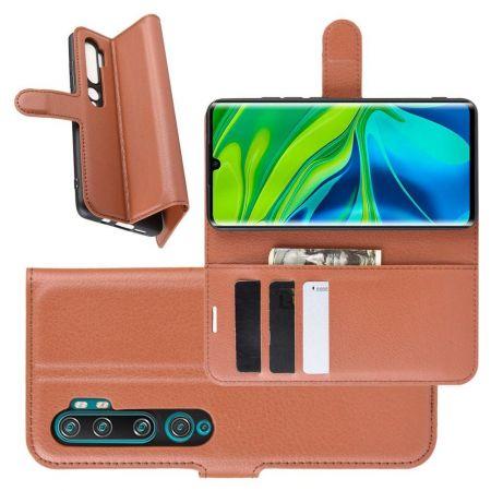Боковая Чехол Книжка Кошелек с Футляром для Карт и Застежкой Магнитом для Xiaomi Mi Note 10 Коричневый