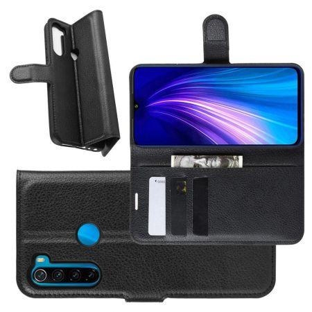 Боковая Чехол Книжка Кошелек с Футляром для Карт и Застежкой Магнитом для Xiaomi Redmi Note 8T Черный