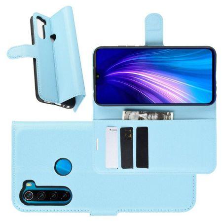 Боковая Чехол Книжка Кошелек с Футляром для Карт и Застежкой Магнитом для Xiaomi Redmi Note 8T Синий