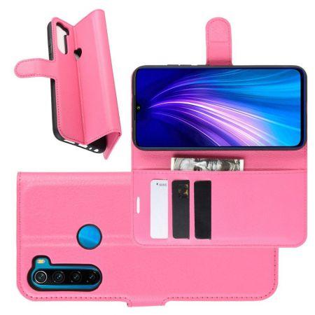 Боковая Чехол Книжка Кошелек с Футляром для Карт и Застежкой Магнитом для Xiaomi Redmi Note 8T Розовый