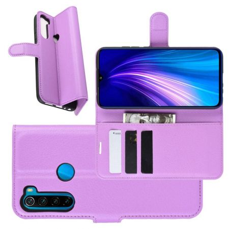 Боковая Чехол Книжка Кошелек с Футляром для Карт и Застежкой Магнитом для Xiaomi Redmi Note 8T Фиолетовый