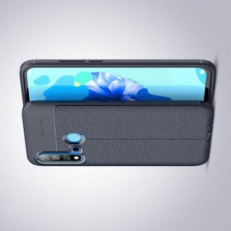 Litchi Grain Leather Силиконовый Накладка Чехол для Huawei nova 5i / P20 lite 2019 с Текстурой Кожа Синий