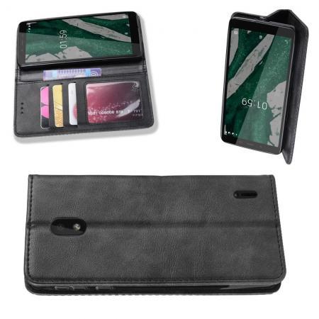 Тонкий Флип Чехол Книжка с Скрытым Магнитом и Отделением для Карты для Nokia 1 Plus Черный цвет