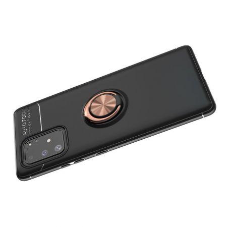 Силиконовый Чехол для Магнитного Держателя с Кольцом для Пальца Подставкой для Samsung Galaxy S10 Lite Черный