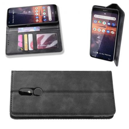 Тонкий Флип Чехол Книжка с Скрытым Магнитом и Отделением для Карты для Nokia 3.2 Черный цвет