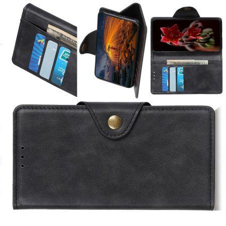 Боковая Чехол Книжка Кошелек с Футляром для Карт и Застежкой Магнитом для Samsung Galaxy M30s Черный