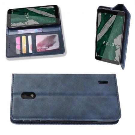 Тонкий Флип Чехол Книжка с Скрытым Магнитом и Отделением для Карты для Nokia 1 Plus Синий цвет