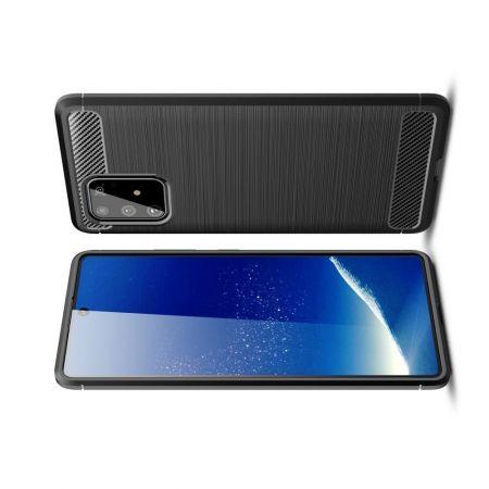 Carbon Fibre Силиконовый матовый бампер чехол для Samsung Galaxy S10 Lite Черный