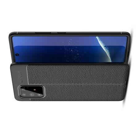 Litchi Grain Leather Силиконовый Накладка Чехол для Samsung Galaxy S10 Lite с Текстурой Кожа Черный