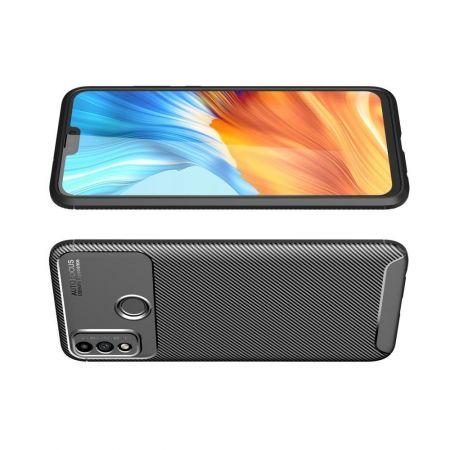 Carbon Fibre Силиконовый матовый бампер чехол для Huawei Honor 9X Lite Черный