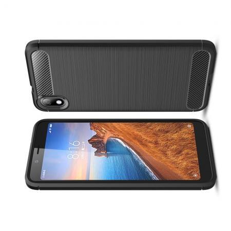 Carbon Fibre Силиконовый матовый бампер чехол для Xiaomi Redmi 7A Черный цвет