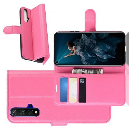 Флип чехол книжка с кошельком подставкой отделениями для карт и магнитной застежкой для Huawei Nova 5T Розовый