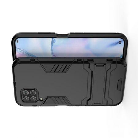 Защитный усиленный гибридный чехол противоударный с подставкой для Huawei P40 Lite Черный