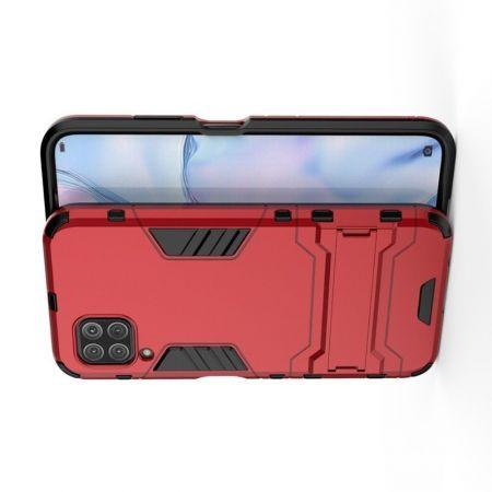 Защитный усиленный гибридный чехол противоударный с подставкой для Huawei P40 Lite Красный