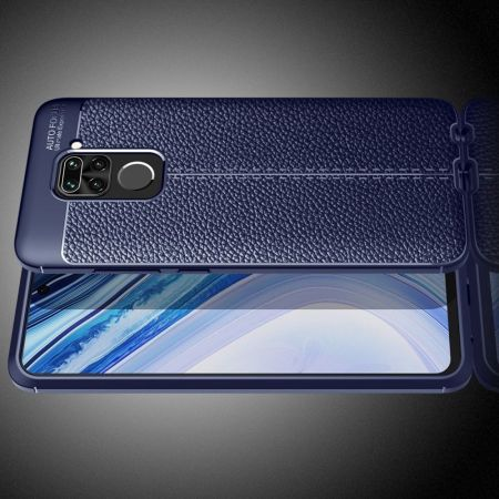 Litchi Grain Leather Силиконовый Накладка Чехол для Xiaomi Redmi Note 9 Pro с Текстурой Кожа Синий