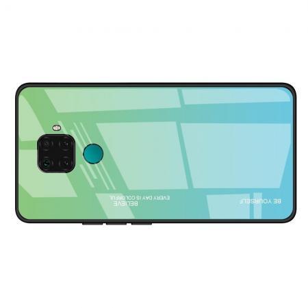 Силиконовый Стеклянный Синий Градиентный Корпус Чехол для Телефона Huawei Mate 30 Lite