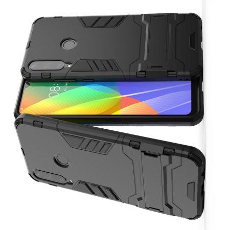 Защитный усиленный гибридный чехол противоударный с подставкой для Huawei Y6p Черный