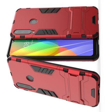 Защитный усиленный гибридный чехол противоударный с подставкой для Huawei Y6p Красный