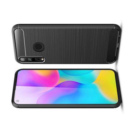 Carbon Fibre Силиконовый матовый бампер чехол для Huawei P40 lite E / Honor 9C Черный