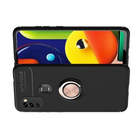 Силиконовый Чехол для Магнитного Держателя с Кольцом для Пальца Подставкой для Samsung Galaxy M51 Розовое Золото / Черный