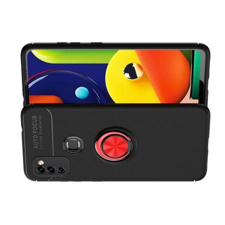 Силиконовый Чехол для Магнитного Держателя с Кольцом для Пальца Подставкой для Samsung Galaxy M51 Красный / Черный