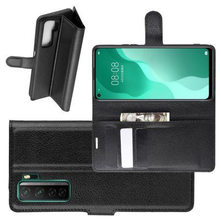 Боковая Чехол Книжка Кошелек с Футляром для Карт и Застежкой Магнитом для Huawei Honor 30S Черный