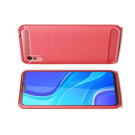Carbon Fibre Силиконовый матовый бампер чехол для Xiaomi Redmi 9A Красный