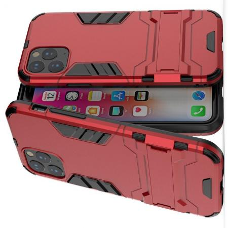 Двухслойный гибридный противоударный чехол с кольцом для пальца подставкой для iPhone 11 Pro Красный