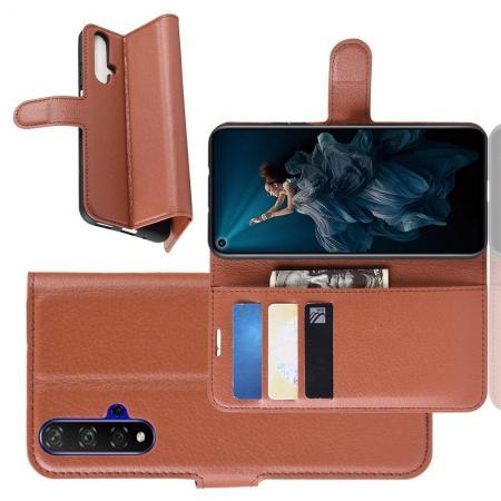 Флип чехол книжка с кошельком подставкой отделениями для карт и магнитной застежкой для Huawei Honor 20 Коричневый