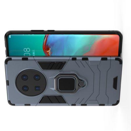 Защитный усиленный гибридный чехол противоударный с подставкой для Huawei Mate 40 Pro Синий