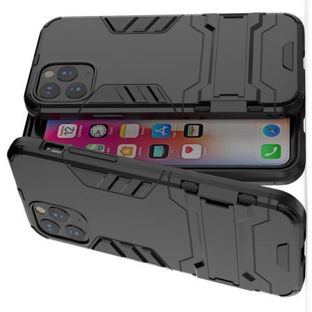 Двухслойный гибридный противоударный чехол с кольцом для пальца подставкой для iPhone 11 Pro Черный