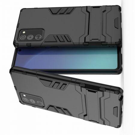 Защитный усиленный гибридный чехол противоударный с подставкой для Samsung Galaxy Note 20 Черный