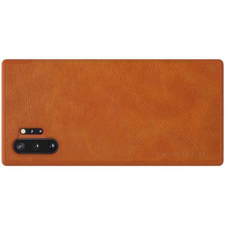 Тонкий Флип NILLKIN Qin Чехол Книжка для Samsung Galaxy Note 10 Plus Коричневый