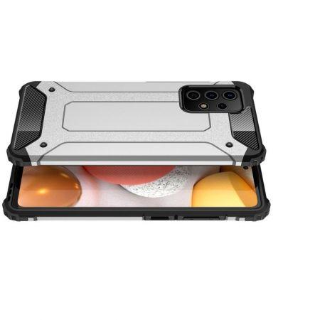 Extreme Усиленный Защитный Силиконовый Матовый Чехол для Samsung Galaxy A52 Серебряный