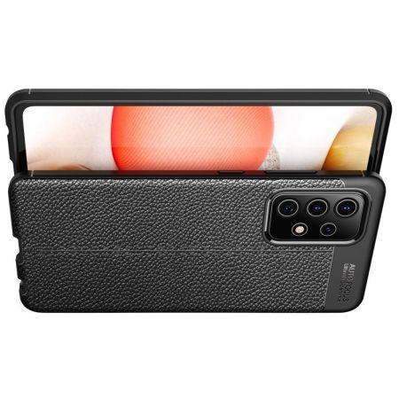 Litchi Grain Leather Силиконовый Накладка Чехол для Samsung Galaxy A52 с Текстурой Кожа Черный