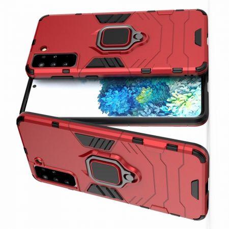 Двухслойный гибридный противоударный чехол с кольцом для пальца подставкой для Samsung Galaxy S21 Plus / S21+ Красный